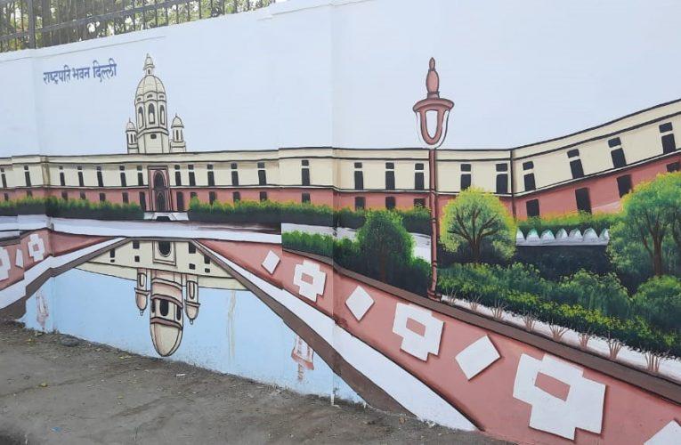 अजमेर – शहर की सजने लगीं प्रमुख दीवारे,नजर आया जल महल, राष्ट्रपति भवन